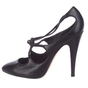 Casadei Black Leather Strappy Heels Pumps size 37